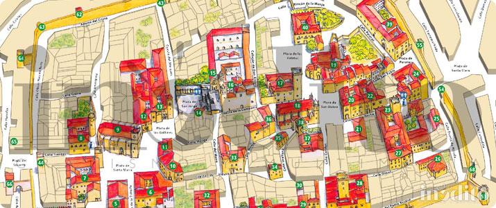 Mapa Turistico De Avila.Mapa De Caceres Plano Callejero Ilustrado De La Ciudad